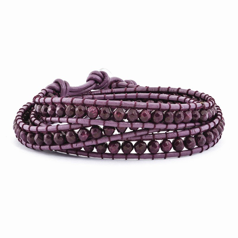 Quality Gold Dyed Purple Jasper Beaded and Leather Multi-Wrap Bracelet