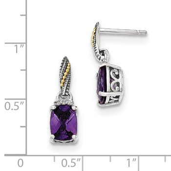 Sterling Silver w/14k Diamond and Amethyst Dangle Post Earrings