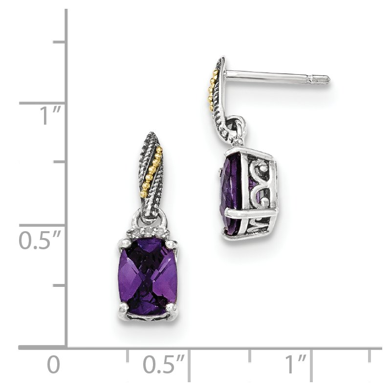 Shey Couture Sterling Silver w/14k Diamond and Amethyst Dangle Post Earrings