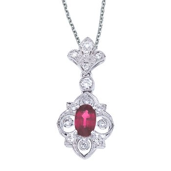 14k White Gold Ruby and Diamond Fleur De Lis Pendant