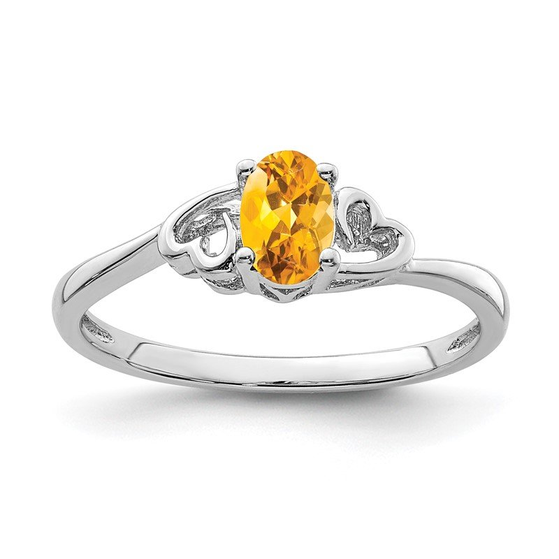 Quality Gold Sterling Silver Rhodium-plated Citrine Ring
