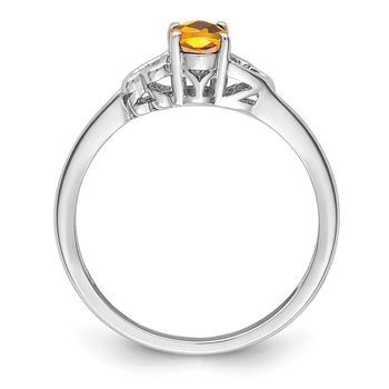 Sterling Silver Rhodium-plated Citrine Ring