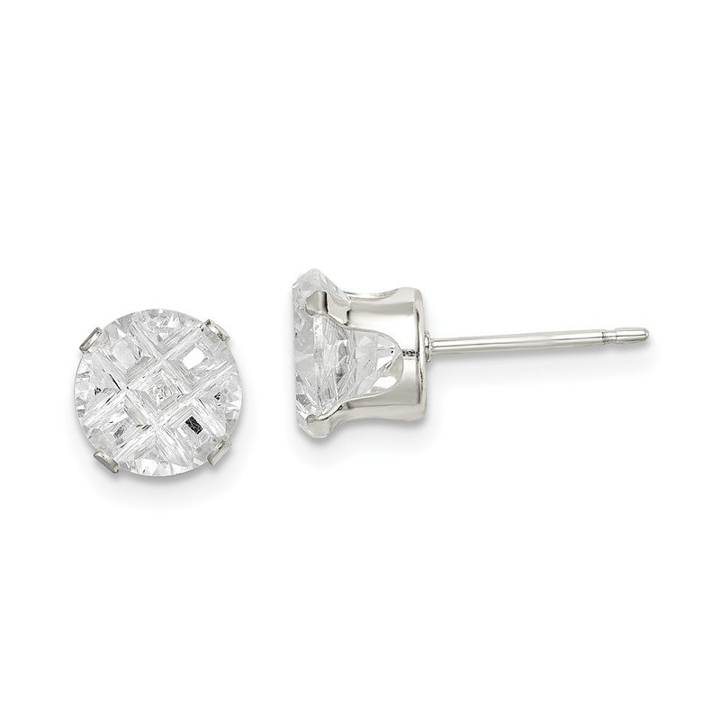 Lester Martin Online Collection Sterling Silver 7mm Round Snap Set Laser-cut CZ Stud Earrings