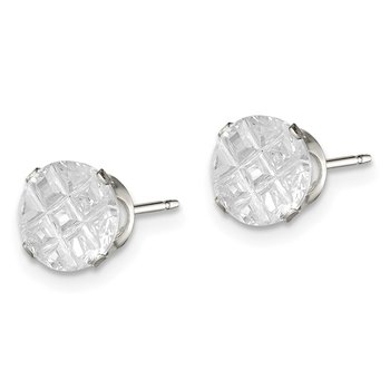 Sterling Silver 7mm Round Snap Set Laser-cut CZ Stud Earrings