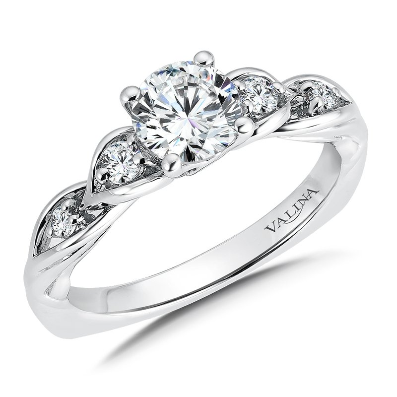 Valina Bridals Mounting with side stones .16 ct. tw., 3/4  ct. round center.