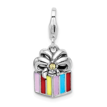 Sterling Silver Yellow Swarovski Enameled Present w/Lobster Clasp Charm
