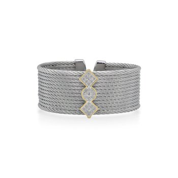 Limited Edition 40th Anniversary Cuff with Grey Cable & Diamonds set in 18kt Yellow Gold