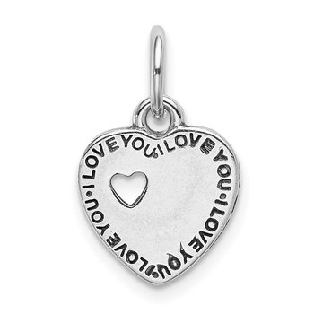 Sterling Silver Rhodium-plated Oxidized You and Me Pendant