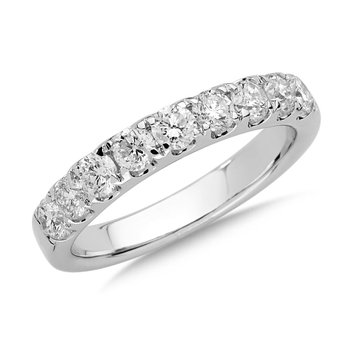 Prong set Diamond Wedding Band 14k White Gold (1ct. tw.) HI/SI2-SI3