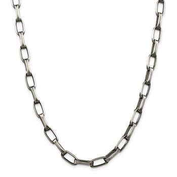 Sterling Silver Antiqued 8mm Elongated Open Link Chain
