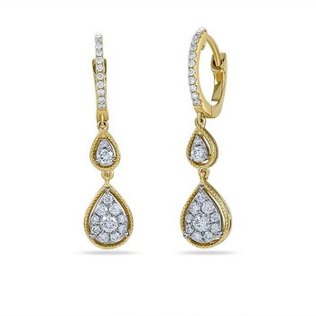 14K tear & round shape earrings with 48 Diamonds 0.48C TW