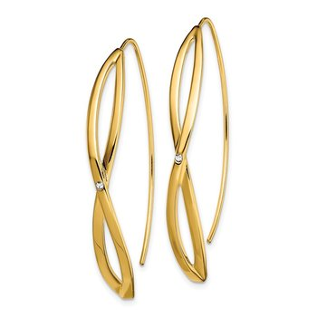 Sterling Silver Gold-plated CZ Twisted Threader Earrings