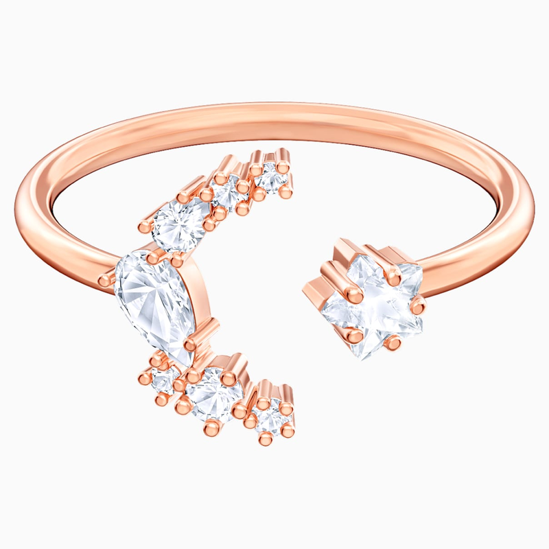 Swarovski Penélope Cruz Moonsun Open Ring, White, Rose-gold tone plated