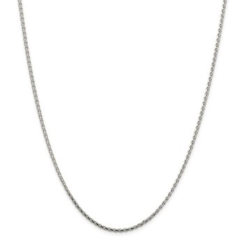 Sterling Silver 2.15mm Diamond-cut Round Spiga Chain