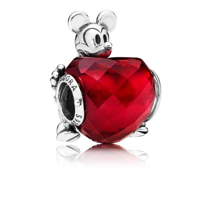 PANDORA Disney, Mickey Love Heart Charm, Fuchsia Rose Crystal