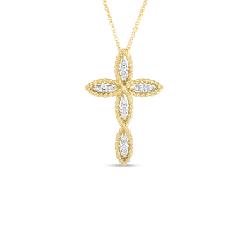 18Kt Gold Cross Pendant With Diamonds