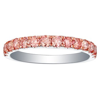 Smiling Rocks 0.84Ct Lab Grown Pink Color Diamond Half Eternity Wedding Band