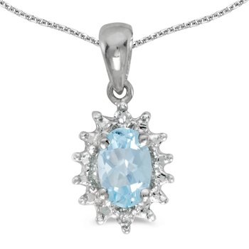10k White Gold Oval Aquamarine And Diamond Pendant