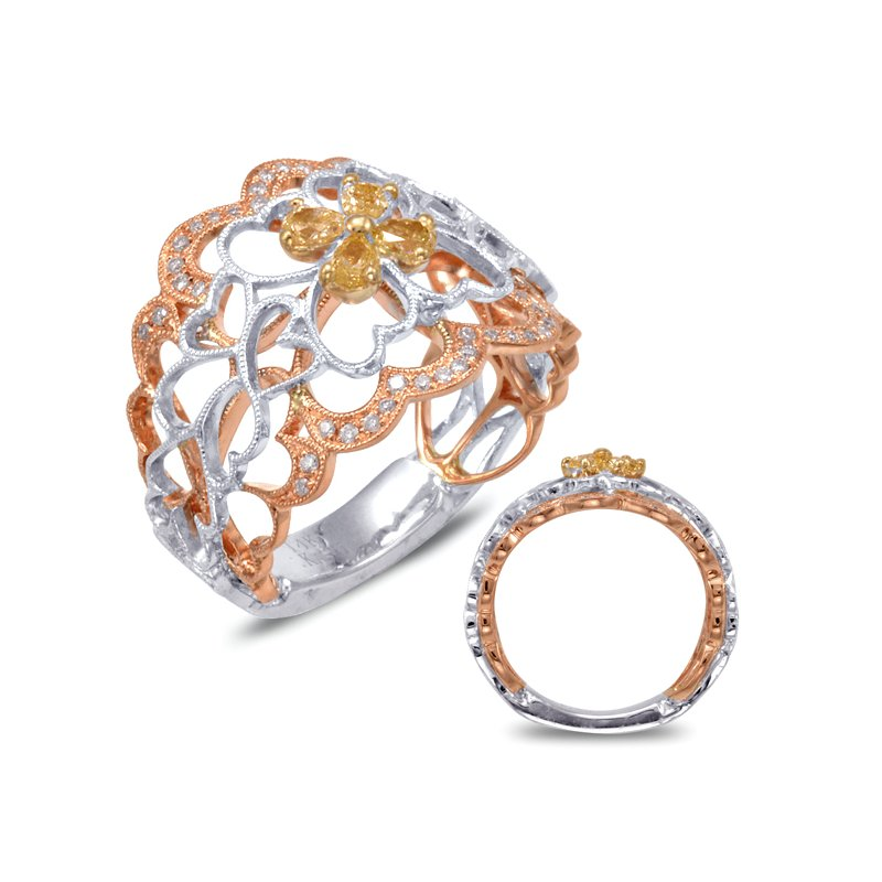 S. Kashi  & Sons Rose & Yellow & White Gold Fashion RIng