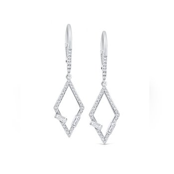Diamond Mosaic Geometric Frame Earrings Set in 14 Kt. Gold