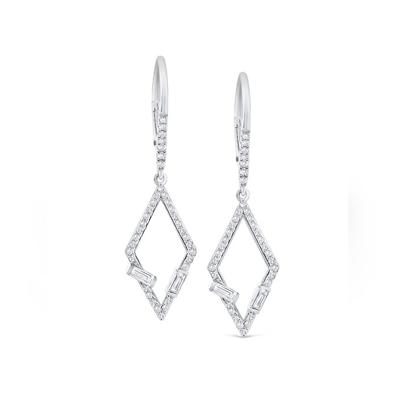 MAZZARESE Fashion Diamond Mosaic Geometric Frame Earrings Set in 14 Kt. Gold