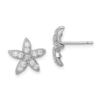 Sterling Silver Rhodium-plated CZ Starfish Post Earrings