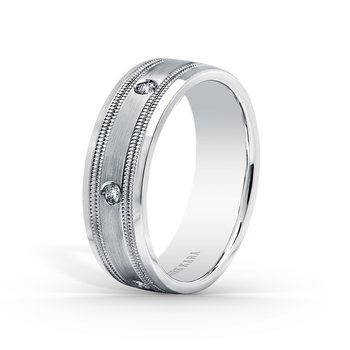 Milgrain Mens Diamond Wedding Band 7mm