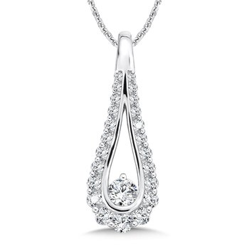 Diamond Pear-shaped Pendant in 14K White Gold (1/4ct. tw.)