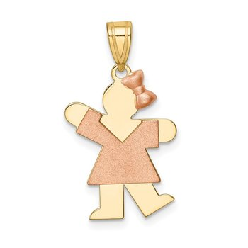 14k Two-Tone Small Girl w/ Bow on Right Engravable Charm