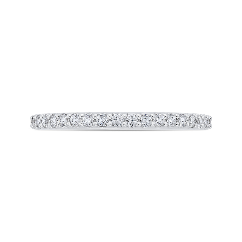 18K White Gold Round Half-Eternity Diamond Wedding Band