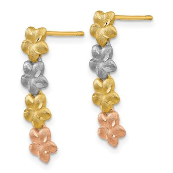 14K Tri-Color Plumeria Earrings