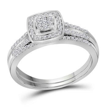14kt White Gold Womens Round Diamond Cluster Bridal Wedding Engagement Ring Band Set 1/3 Cttw