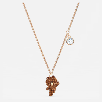 Line Friends Skate Necklace, Brown, Rose-gold tone plated