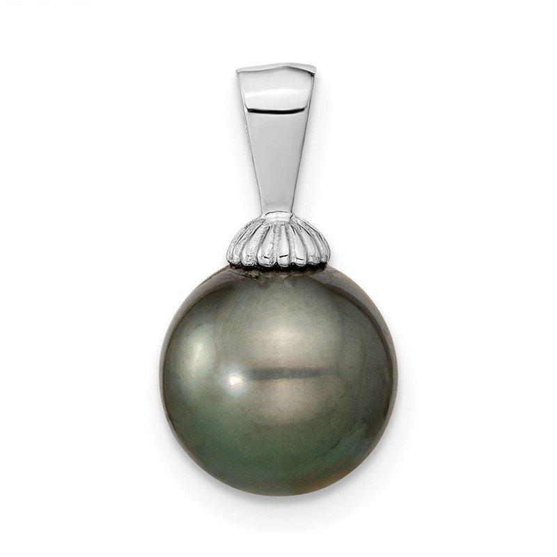 Quality Gold 14k WG 9-10mm Black Round Saltwater Cultured Tahitian Pearl Pendant