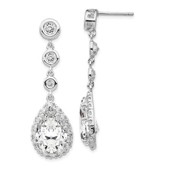Cheryl M Sterling Silver CZ Dangle Earrings