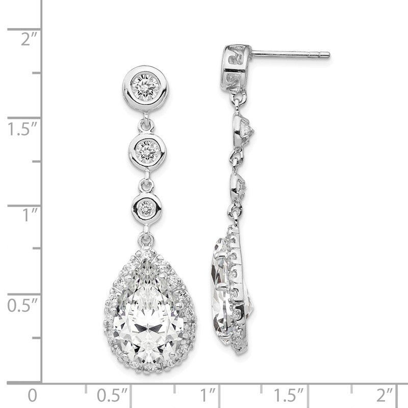 Cheryl M Cheryl M Sterling Silver Rhod Plated Pear Shape CZ Dangle Post Earrings