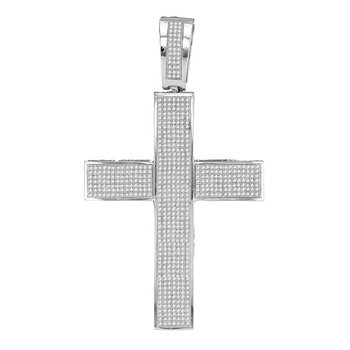 10kt White Gold Mens Round Diamond Roman Cross Religious Charm Pendant 1-3/4 Cttw