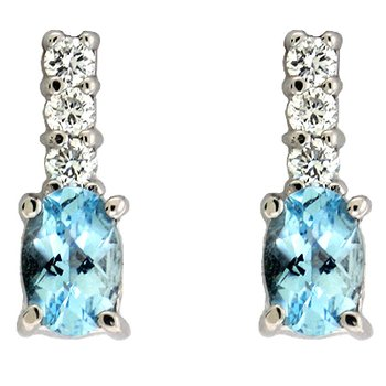 Aquamarine & Diamond Earring
