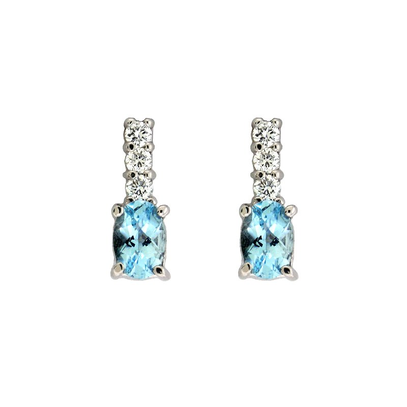 S. Kashi  & Sons Aquamarine & Diamond Earring
