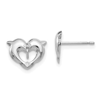 14k White Gold Madi K Screwback Dolphins Post Earrings