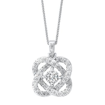 Diamond Infinity Love Heart Knot Pendant Necklace in 14k White Gold (1ctw)