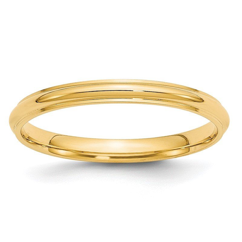 Quality Gold 14KY 2.5mm Half Round with Edge Band Size 10