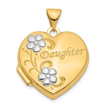 14k w/ Rhodium DAUGHTER Floral 18mm Heart Locket