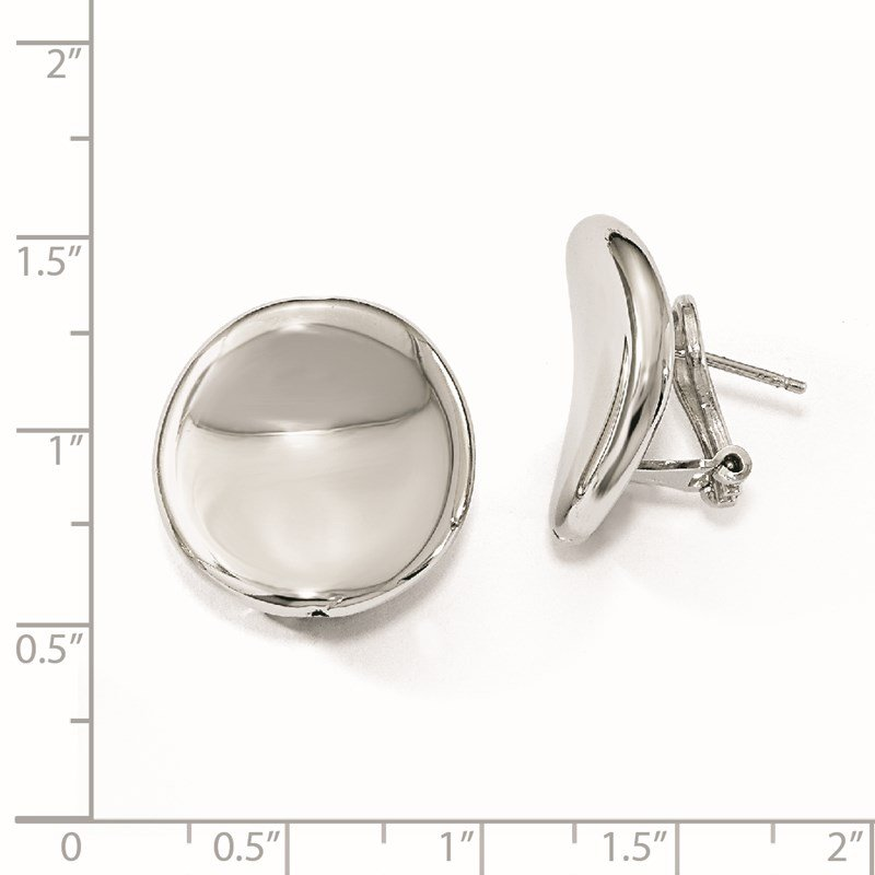 Leslie's Leslie's Sterling Silver Polished Curved Button Omega Back Earrings