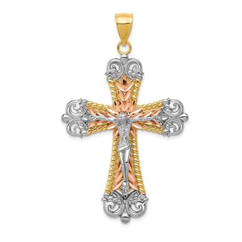 14K Tri-Color W/ White Rhodium Crucifix Cross Pendant