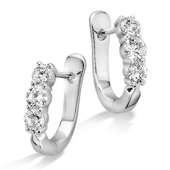 Prong Set set Diamond Hoop Earrings in 14k White Gold (3/4 ct. tw.) HI/I1