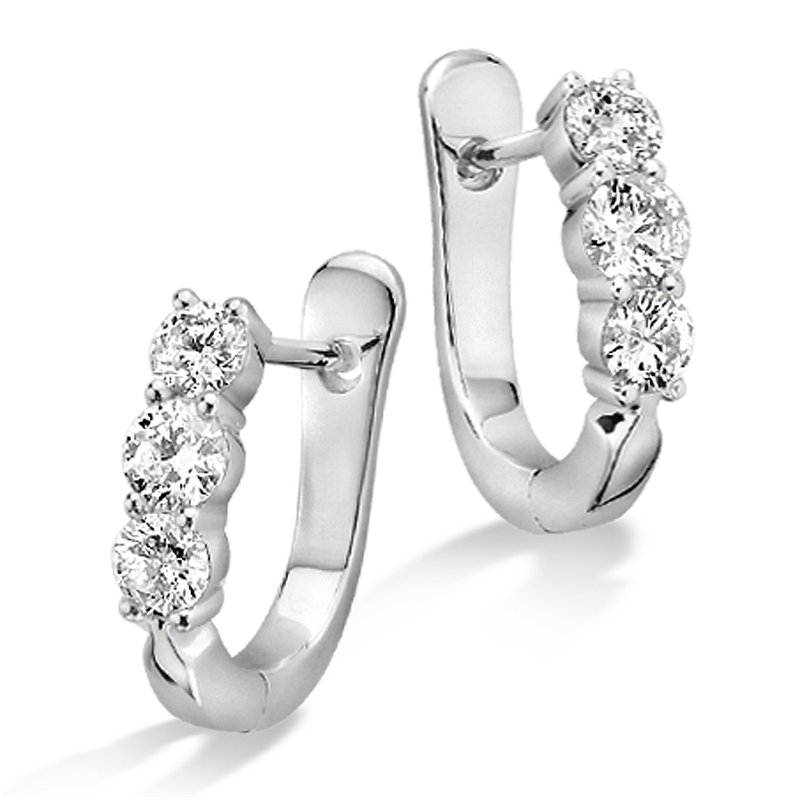 SDC Creations Prong Set set Diamond Hoop Earrings in 14k White Gold (3/4 ct. tw.) HI/I1