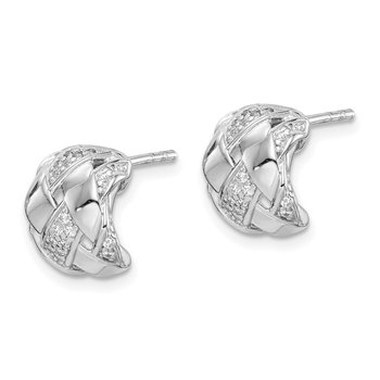 Sterling Silver Rhodium Plated CZ C-Hoop Post Earrings