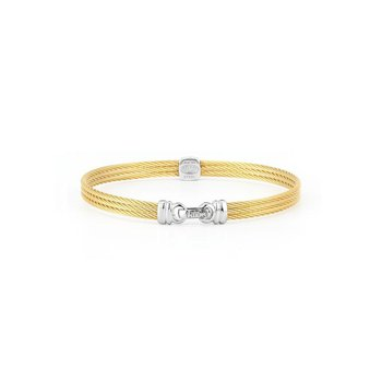 Yellow Cable Classic Stackable Bracelet with Single Square Station set in 18kt White Gold