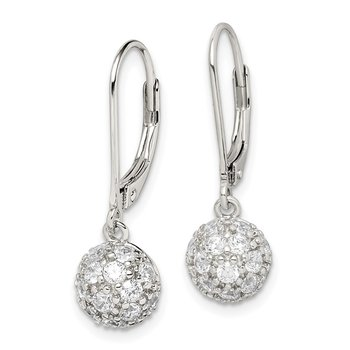 Sterling Silver CZ Leverback Earrings